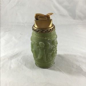 Green Stone and Brass Collectible